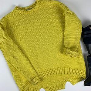 Zara Knit Chunky Yellow Sweater Split Hemline S